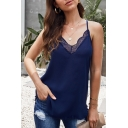 Sunmmer Sexy Sleeveless V-Neck Lace Patched Relaxed Fit Cami Top in Blue
