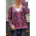Trendy Street Ladies' Long Sleeve V-Neck Button Front Argyle Printed Contrasted Relaxed Knit Cardigan