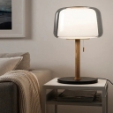 1 Head Urn Nightstand Lamp Modern Smoke Glass Reading Book Light in Wood with Pull Chain