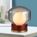 Smoke Gray Glass Jar Desk Lamp Contemporary 1 Bulb Task Lighting with Cylinder Metal Base