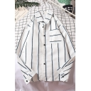 Chic Street Long Sleeve Lapel Collar Button Down Stripe Printed Relaxed Fit Shirt