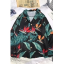 Beach Guys' Long Sleeve Lapel Neck Button Front All Over Floral Pattern Relaxed Fitted Shirt
