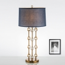 1 Head Barrel Table Lamp Modernism Fabric Reading Light in Gold for Living Room