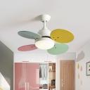 Wood Round Ceiling Fan Lamp Kids 30