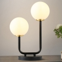 2 Bulbs Living Room Table Light Modern Black Small Desk Lamp with Sphere White Glass Shade