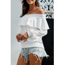 Fancy Women's Plain Long Sleeve Off the Shoulder Ruffle Trim Relaxed Fit Pullover Sweatshirt