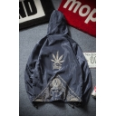 Cool Street Boys' Long Sleeve Zip Up Maple Leaf Letter Printed Loose Fit Graphic Jacket