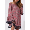Leisure Pretty Bell Sleeve Off the Shoulder Tassel Trim All Over Floral Printed Mini Swing Dress in Burgundy