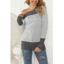 Fashionable Women's Long Sleeve Drop Shoulder Cable Knit Patched Slim Fit Tee