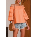Stylish Pink Bell Sleeve Off the Shoulder Stringy Selvedge Loose Fit Blouse Top for Girls