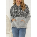 Pretty Casual Women's Long Sleeve Half Zipper Leopard Printed Panel Fuzzy Thick Loose Hoodie with Pocket
