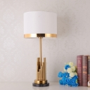 Contemporary Drum Task Lighting Fabric 1 Head Night Table Lamp in Gold for Bedroom