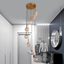 8 Lights Stair Cluster Pendant Modern Brown LED Hanging Ceiling Light with Global Frosted Glass Shade