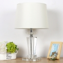 Contemporary Tapered Study Lamp Clear Crystal 1 Head Reading Book Light in White
