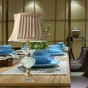 1 Bulb Shaded Task Lighting Modernist Fabric Reading Lamp in Gold for Living Room