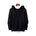 Classy Men's Plain Long Sleeve Drawstring Relaxed Fit Hoodie with Pocket