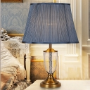 Flared Desk Light Contemporary Fabric 1 Head Nightstand Lamp in Blue for Bedroom
