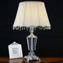 Fabric Cone Desk Lamp Modern 1 Bulb Grey Table Light with Faux-Braided Detailing