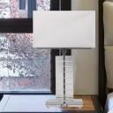 Rectangle Reading Light Modern Fabric 1 Bulb White Nightstand Lamp for Living Room