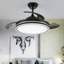Round Bedroom Pendant Fan Lamp Modern Acrylic White/Black LED 3 Blades Semi Flush Light with Remote Control, 36