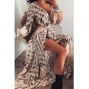 Stylish Girls Long Sleeve Surplice Neck All Over Letter Pattern Split Tie Waist Maxi Flowy Dress in Apricot