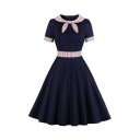 Lovely Girls Short Sleeve Bow Tie Neck Zipper Back Contrasted Maxi Pleated Flared Dress