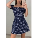 Cute Girls' Short Sleeve Off the Shoulder Button Down Polka Dot Printed Ruffled Short A-Line Dress