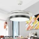 White/Black LED Ceiling Fan Light Modernist Acrylic Drum 4 Blades Semi Flush Lamp over Dining Table, 42