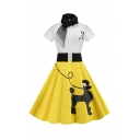 Designer Girls Short Sleeve Round Neck Belted Dog Printed Colorblock Letter A Midi Pleated Flared Dress with Scarf