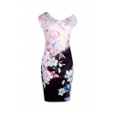 Vintage Women's Sleeveless Surplice Neck Floral Pattern Colorblock Short Bodycon Dress in Pink