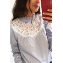 Simple Women's Long Sleeve Mock Neck Lace Panel Stringy Selvedge Loose Fit Shirt in Blue