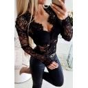 Sexy Ladies' Long Sleeve V-Neck Sheer Lace Slim Fit Plain Bodysuit in Black
