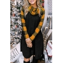 Casual Trendy Women's Long Sleeve Cowl Neck Plaid Print Patchwork Short A-Line Dress
