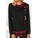 Casual Women's Long Sleeve Turen Down Collar Button Front Plaid Printed Relaxed Fit T-Shirt