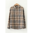 Basic Long Sleeve Lapel Neck Button Down Checkered Printed Relaxed Fit Shirt for Women