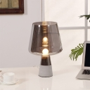 Shaded Task Lighting Contemporary Smoke Grey Glass 1 Bulb Bedroom Small Desk Lamp