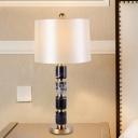 1 Head Bedroom Task Lighting Modern White Night Table Lamp with Barrel Fabric Shade