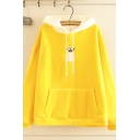 Girls' Lovely Long Sleeve Drawstring Dog Embroidery Pouch Pocket Loose Hoodie