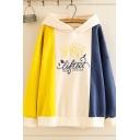 Street Trendy Girls' Long Sleeve Letter SPIRIT LIFTED Printed Colorblocked Loose Fit Hoodie in Yellow
