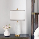 Fabric Cylinder Task Lamp Modern 1 Head White Reading Book Light with Marble Base