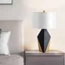 Fabric Drum Task Light Modern 1 Head White Desk Lamp with Geometrical Black Metal Base