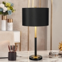 Straight Sided Shade Task Light Modernism Fabric 1 Bulb Small Desk Lamp in Black