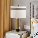 Fabric Barrel Table Lamp Modernism 1 Bulb White Desk Light with Brass Metal Base