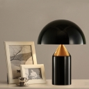 2 Heads Bedside Desk Light Modern Black Nightstand Lamp with Hemisphere Metal Shade