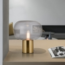 1 Bulb Bedroom Desk Light Modern Gold Nightstand Lamp with Oval Clear Glass Shade