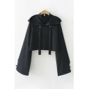 Cool Street Black Long Sleeve Fringe Decoration Frog Button Cropped Hoodie for Women