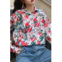 Gorgeous Women's Long Sleeve Lapel Neck Button Down Cartoon Girl Printed Relaxed Shirt in Light Blue