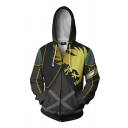 Famous Game Long Sleeve Zipper Front 3D Print Cosplay Fitted Hoodie in Black