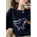 Cute Women's Three-Quarter Sleeves Crew Neck Dinosaur Graphic Relaxed Fit T-Shirt