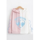 Stylish Girls' Long Sleeve Drawstring BEST FRIENDS Cat and Rabbit Heart Print Colorblock Relaxed Graphic Hoodie